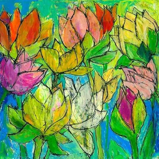 abstrakte farverige blomster